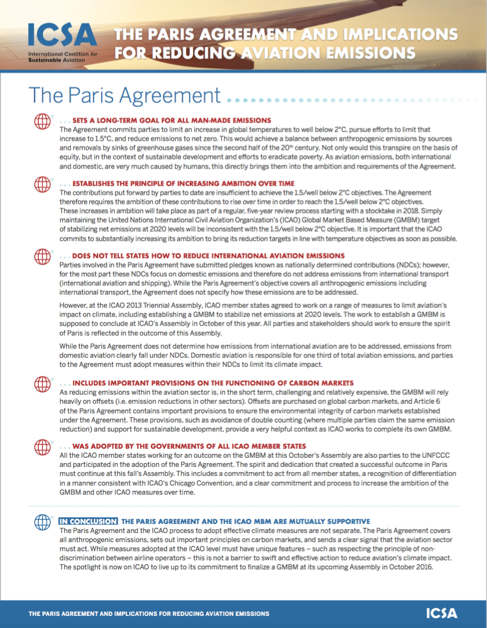 The Paris Agreement And Implications For Reducing Aviation